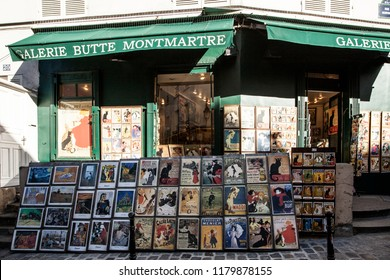 MONTMARTRE - OCTOBER 6. 2016: the famous poster of Le Chat Noir, the black cat, and other pictures in Montmartre, Paris on October 6, 2016 . Le Chat Noir was a 19th century cabaret club in Montmartre.