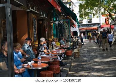 Montmartre, Paris, France - 09/02/2019:Cafe in Montmartre