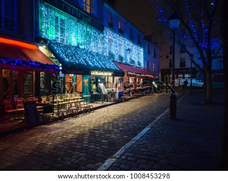 Montmartre Paris January 7 2018 Night Stock Photo Edit Now