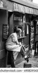 Montmartre street view - a small crepe shop - PARIS / FRANCE - SEPTEMBER 24, 2017