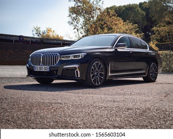 MONTMELO, SPAIN-SEPTEMBER 29, 2019: 2020 model BMW 730i M Sport Pure (G11) (sixth generation of the BMW 7 Series facelift)