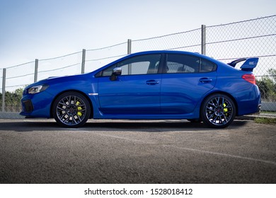 MONTMELO, SPAIN-SEPTEMBER 29, 2019: Subaru Impreza WRX STI (Fourth generation, side view) at City streets