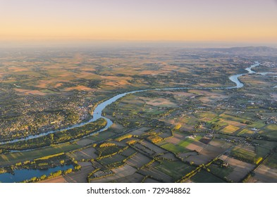 Montmerle sur Saone city and vineyards of Beaujolais land in France