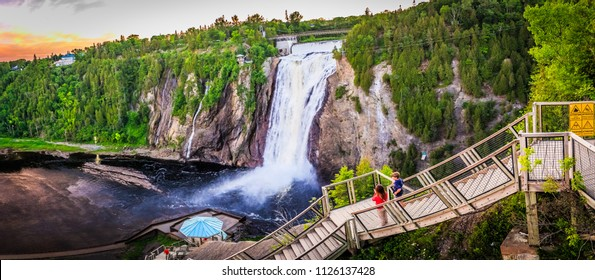 The Montmorency Falls, a large waterfall on the Montmorency River in Quebec, Canada