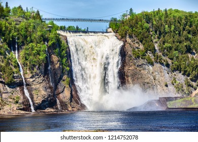 Montmorency Falls, large waterfall in Quebec city, Canada. Famous popular tourist destination in Quebec, tourism travel attraction.