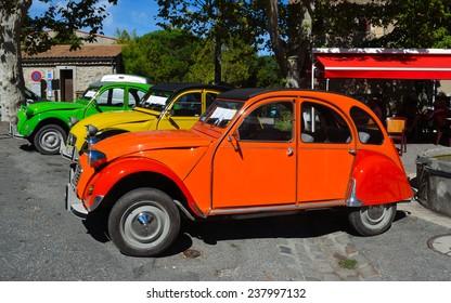 MONTOLIEU, LANGUEDOC - ROUSSILLON, FRANCE - SEPTEMBER 14, 2013: Classic Citroen 2CV Motor car on show.