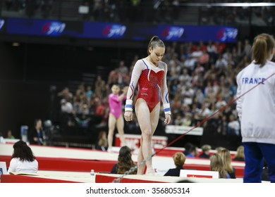 MONTPELIER, FRANCE - MARCH 16 2015: Gymnastic to Parallel exhibition