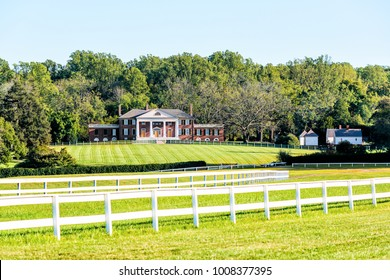 Montpelier Station, USA - October 20, 2017: Historic home of James Madison called Montpelier in Virginia, white picket fence