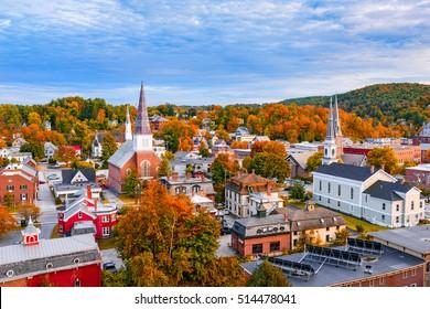 Montpelier, Vermont, États-Unis, horizon de la ville d'automne.
