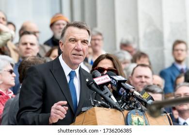 MONTPELIER, VT, USA. April 11, 2018. Vermont Governor Phil Scott speaks at a rally before signing historic gun legislation.