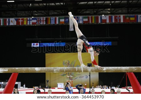 Montpellier, France - April 19 2015: European Artistic Gymnastics Championships