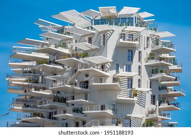 Montpellier,  France - April 5th 2021 - L'arbre blanc condo building in downtown Montpellier during springtime showing off its impressive architecture during the afternoon