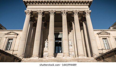 Montpellier, France - January 2, 2019: Architectural detail of the courthouse in the historic city center on a winter day