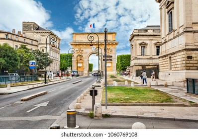 Montpellier, France - July 08, 2014: Triumphal arch Porte du Peyrou in Montpellier.