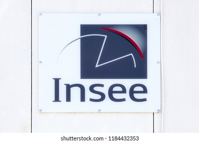 Montpellier, France - July 5, 2018: INSEE logo on a wall. The National Institute of Statistics and Economic Studies is the national statistics bureau of France