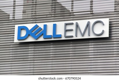 montpellier, France -june 21, 2017: letters Dell emc on a wall in montpellier