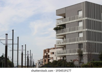 Montpellier, France - March the 11th 2021 : recent residency building in a french city