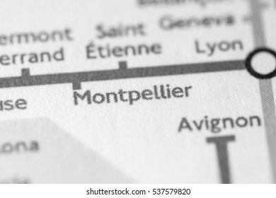 Montpellier, France on a geographical map.