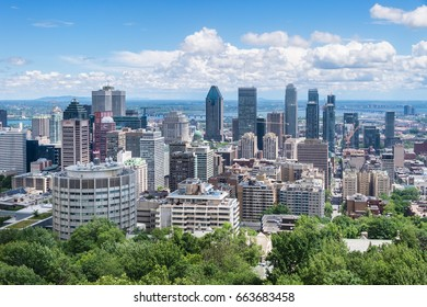 Montreal, 20 June 2017: Montreal downtown from Kondiaronk Belvedere on Mount Royal