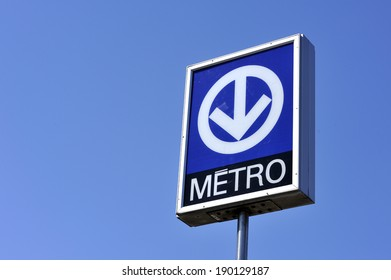 MONTREAL - APRIL 5: The Montreal Metro subway sign is photographed, on April 5, 2012 in Montreal, Quebec, Canada.
