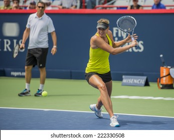 MONTREAL - AUGUST 1: Maria Sharapova of Russia at a practice session at the 2014 Rogers Cup on August 1, 2014 in Montreal, Canada