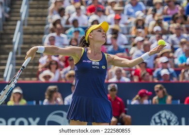 MONTREAL - AUGUST 10: Agnieszka Radwanska of Poland in her Final match win over Venus Williams of USA at the 2014 Rogers Cup on August 10, 2014 in Montreal, Canada