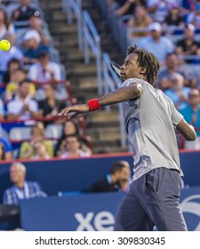 MONTREAL - AUGUST 10: Gael Monfils of France during his first round match win over Fabio Fognini of Italy at the 2015 Rogers Cup on August 10, 2015 in Montreal, Canada