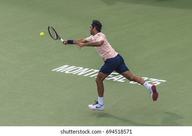 MONTREAL - AUGUST 10: Roger Federer of Switzerland in her Third round match win over David Ferrer of Spain at the 2017 Rogers Cup on August 10, 2017 in Montreal, Canada