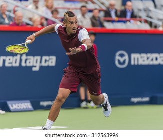 MONTREAL - AUGUST 11: Nick Kyrgios of Australia during his second round match win over Fernando Verdasco of Spain at the 2015 Rogers Cup on August 11, 2015 in Montreal, Canada