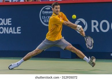 MONTREAL - AUGUST 11: Thomaz Bellucci of Brazil during his second round match loss to Novak Djokovic of Serbia at the 2015 Rogers Cup on August 11, 2015 in Montreal, Canada