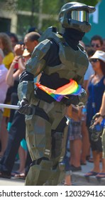 MONTREAL  AUGUST 12 2013: Participant as a gay robot at the Community Day for Montreal Pride celebrations festival. This event has a mandate to involve, educate and entertain
