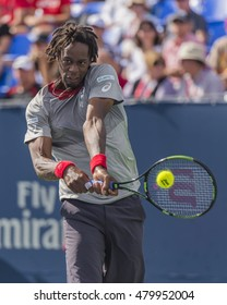 MONTREAL - AUGUST 12: Gael Monfils of France during his second round match loss to Gilles Muller of Luxembourg at the 2015 Rogers Cup on August 12, 2015 in Montreal, Canada