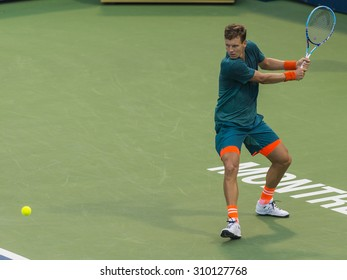 MONTREAL - AUGUST 12: Tomas Berdych of Czech Republic during his second round match loss to Donald Young of USA at the 2015 Rogers Cup on August 12, 2015 in Montreal, Canada