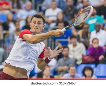 MONTREAL - AUGUST 13: Bernard Tomic of Australia during his third round match loss to Jo-Wilfried Tsonga of France at the 2015 Rogers Cup on August 13, 2015 in Montreal, Canada