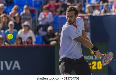 MONTREAL - AUGUST 13: Ernests Gulbis of Latvia during his third round match win over Donald Young of USA at the 2015 Rogers Cup on August 13, 2015 in Montreal, Canada