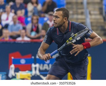 MONTREAL - AUGUST 13: Jo-Wilfried Tsonga of France during his third round match win over Bernard Tomic of Australia at the 2015 Rogers Cup on August 13, 2015 in Montreal, Canada