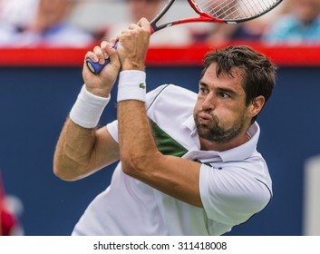 MONTREAL - AUGUST 14: Jeremy Chardy France during his quarter final match win over John Isner of USA at the 2015 Rogers Cup on August 14, 2015 in Montreal, Canada