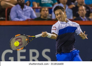 MONTREAL - AUGUST 14: Kei Nishikori of Japan during his quarter final match win over Rafael Nadal of Spain at the 2015 Rogers Cup on August 14, 2015 in Montreal, Canada