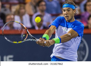 MONTREAL - AUGUST 14: Rafael Nadal of Spain during in his quarter final match loss to Kei Nishikori of Japan at the 2015 Rogers Cup on August 14, 2015 in Montreal, Canada