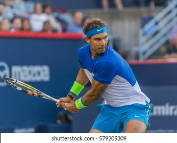 MONTREAL - AUGUST 14: Rafael Nadal of Spain celebrating after his third round match win over Mikhail Youzhny of Russia at the 2015 Rogers Cup on August 14, 2015 in Montreal, Canada