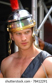 MONTREAL - AUGUST 14: Young man dressed as Roman soldier during reenactment show in Divers/cite festival on August 14, 2010 in Montreal, Canada