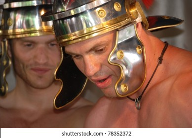 MONTREAL - AUGUST 14: Young  men dress as Roman soldier during reenactment show in Divers/cite festival on August 14, 2010 in Montreal Canada