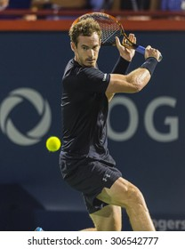 MONTREAL - AUGUST 15:  Andy Murray of Great Britain during his semi final match win over Kei Nishikori of Japan at the 2015 Rogers Cup on August 15, 2015 in Montreal, Canada