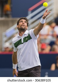 MONTREAL - AUGUST 15:   Jeremy Chardy of France during his semi final match loss to Novak Djokovic of Serbia at the 2015 Rogers Cup on August 15, 2015 in Montreal, Canada