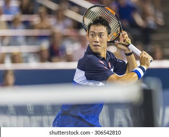 MONTREAL - AUGUST 15:   Kei Nishikori of Japan during his semi final match loss to Andy Murray of Great Britain at the 2015 Rogers Cup on August 15, 2015 in Montreal, Canada