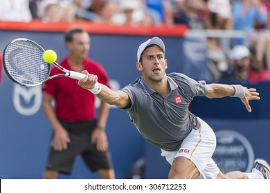 MONTREAL - AUGUST 16:   Novak Djokovic of Serbia during his final match loss to Andy Murray of Great Britain at the 2015 Rogers Cup on August 16, 2015 in Montreal, Canada