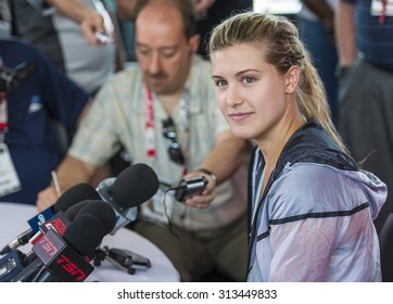 MONTREAL - AUGUST 3: Eugenie Bouchard of Canada during press conference at the 2014 Rogers Cup on August 3, 2014 in Montreal, Canada