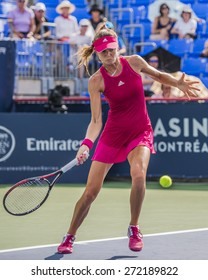 MONTREAL - AUGUST 5: Daniela Hantuchova of Slovakia in her First round match against Caroline Wozniacki of Denmark at the 2014 Rogers Cup on August 5, 2014 in Montreal, Canada