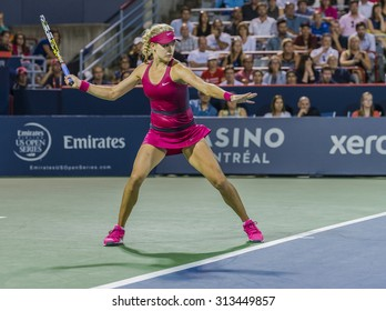 MONTREAL - AUGUST 5: Eugenie Bouchard of Canada in her Second round loss to Shelby Rogers of USA at the 2014 Rogers Cup on August 5, 2014 in Montreal, Canada