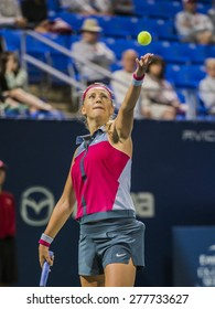 MONTREAL - AUGUST 7: Victoria Azarenka of Belarus in her third round match win over Heather Watson of United Kingdom at the 2014 Rogers Cup on August 7, 2014 in Montreal, Canada